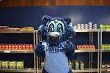 Lobo mascot in SSU food pantry